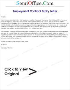 Notice of Expiry of Employment Contract