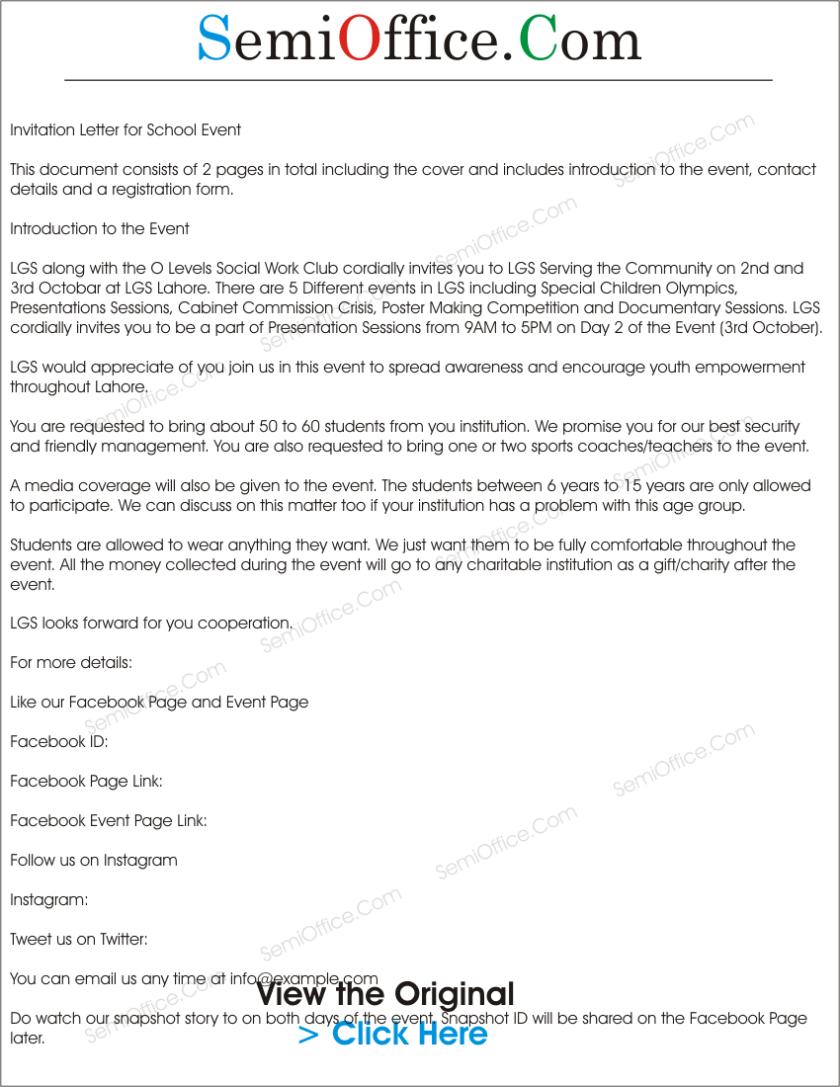 Formal invitation letter for event sponsorship sample letter sample invitation letter format seminar choice image invitation sample invitation for school event sample invitation letter stopboris Images