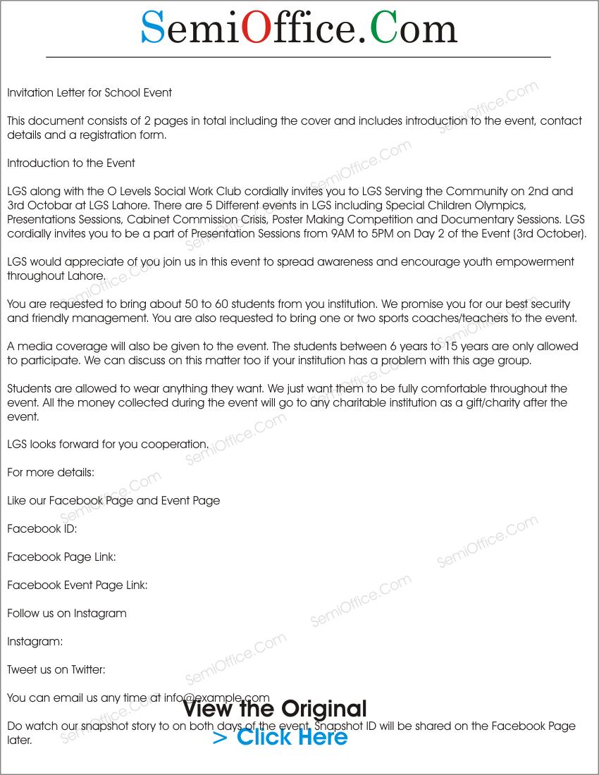 Sample Invitation Letter For School Event  Invitation Event Sample