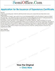 Request for Re Issuance of Experience Certificate