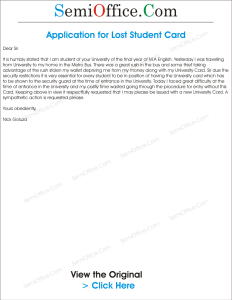 Application for Lost Student Card