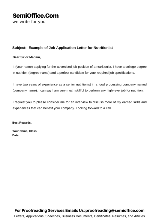 Example of Job Application Letter for Nutritionist