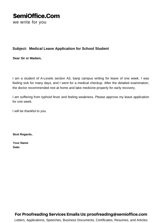 Medical Leave Application for School Student