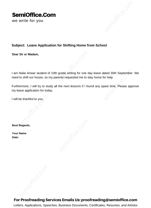 Leave Application for Shifting Home from School