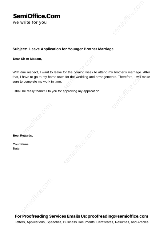Leave Application for Younger Brother Marriage
