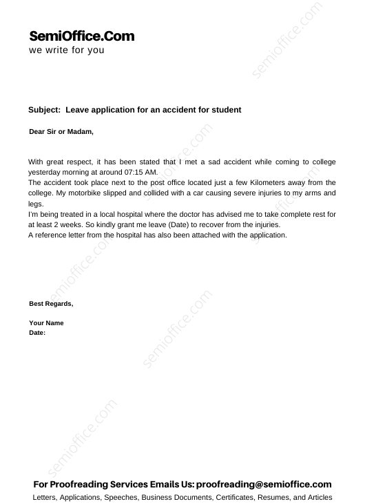 Leave application for an accident for student