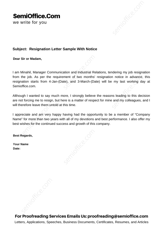 Resignation Letter Sample With Notice