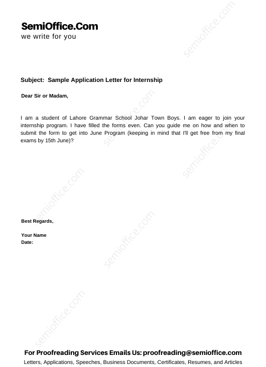 Sample Application Letter for Internship
