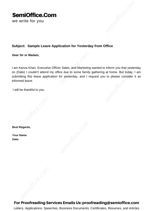 Sample Leave Application for Yesterday from Office