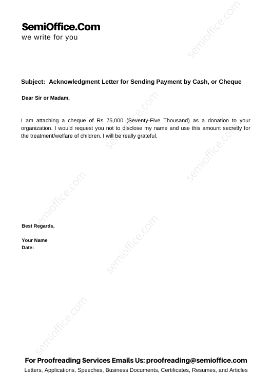 Acknowledgment Letter for Sending Payment by Cash, or Cheque