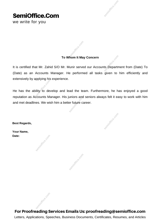 Experience Letter For Accounts Manager