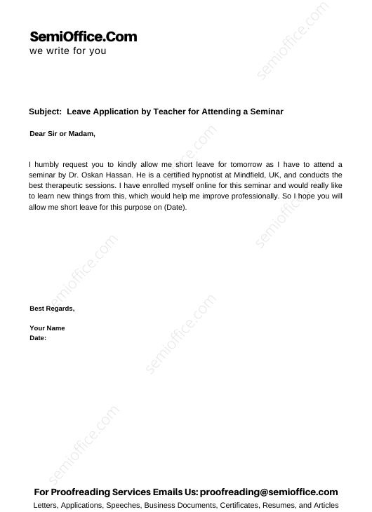 Leave Application by Teacher for Attending a Seminar
