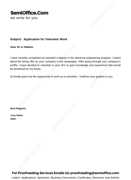 Application for Volunteer Work