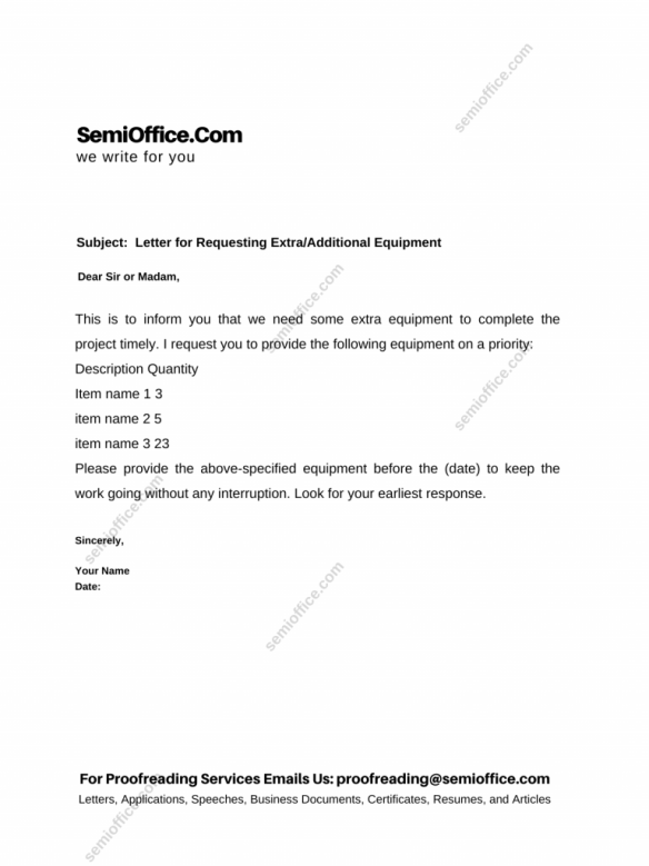 Letter for Requesting Extra/Additional Equipment