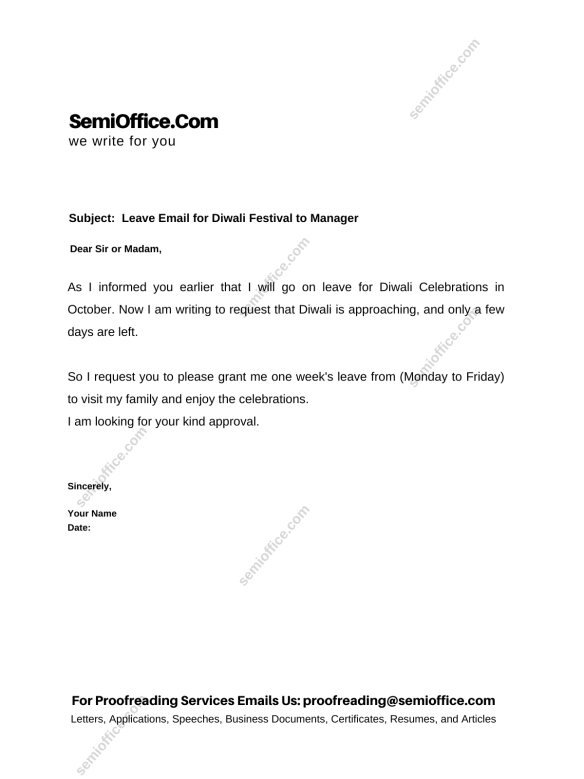 Leave Application for Diwali Festiwal and Chhath Puja