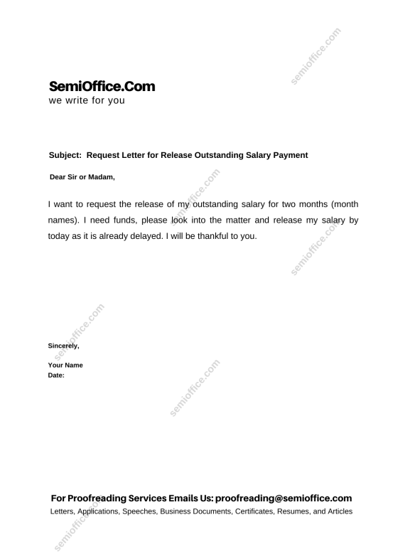 Request Letter for Payment of Pending Salary