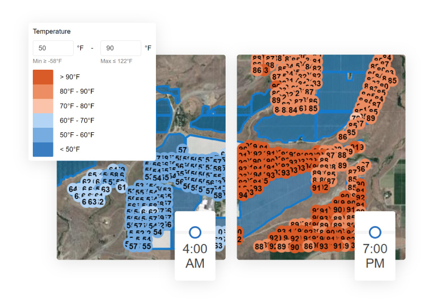 Semios temperature heatmaps show in-canopy temperature readings on every acre every 10 minutes