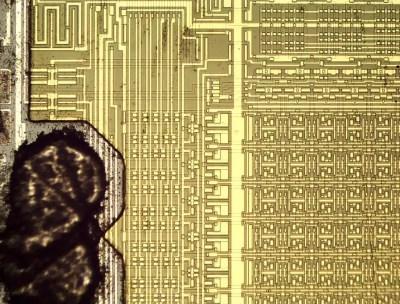 Closeup of the 2-kilobit RAM chip.