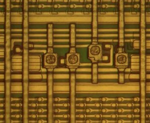 Closeup of the IBM 288-kilobit memory chip showing the programmable fuses.