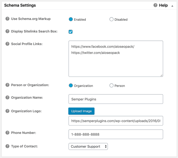 Schema Settings in All in One SEO Pack