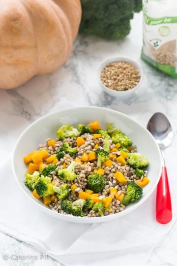 Insalata invernale con grano saraceno zucca e broccoli