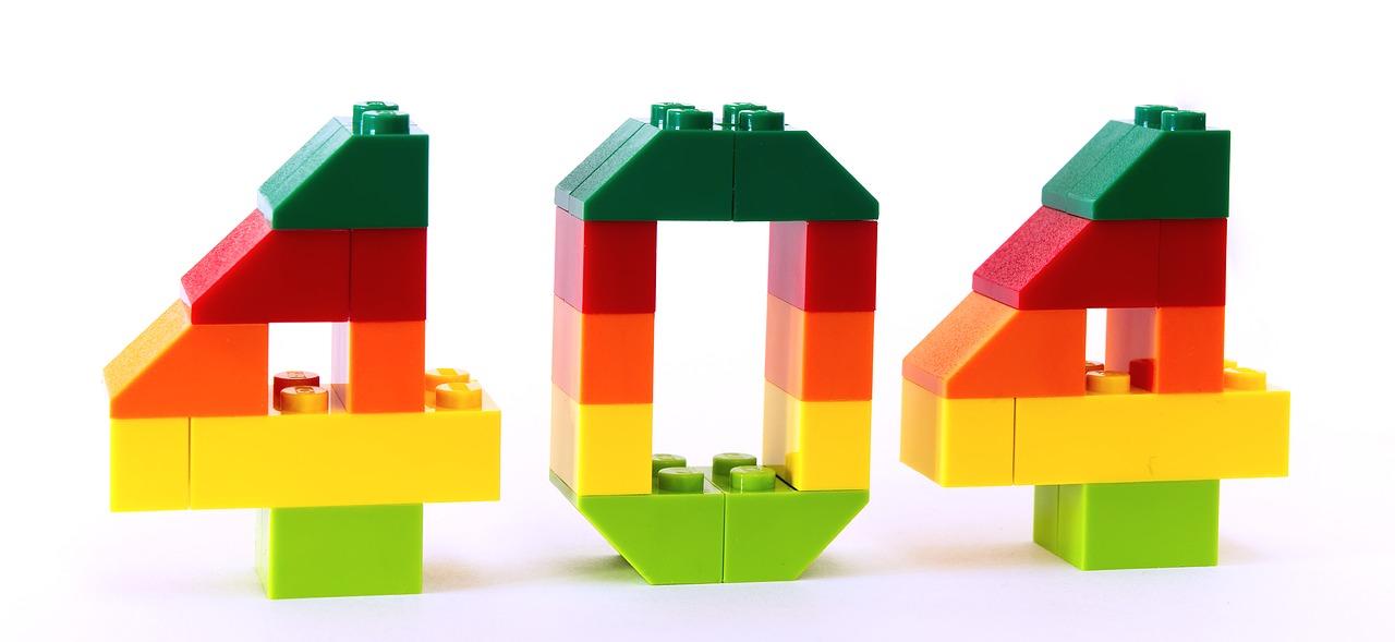 Errore 404 risorsa non trovata scritto con mattoncini lego