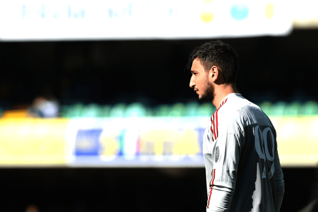 Donnarumma looks on against Hellas Verona (Pier Marco Tacca/Getty Images)