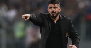 AC Milan's coach from Italy Gennaro Gattuso reacts during the Italian Tim Cup (Coppa Italia) final Juventus vs AC Milan at the Olympic stadium on May 9, 2018 in Rome. (Photo by Isabella BONOTTO / AFP) (Photo credit should read ISABELLA BONOTTO/AFP/Getty Images)