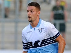 ESSEN, GERMANY - AUGUST 12: Sergej Milinkovic Savic of SS Lazio in action of Borussia Dortmund during the Borussia Dortmund v Lazio - Pre-Season Friendly at the Essen Stadium on August 12, 2018 in Essen, Germany. (Photo by Marco Rosi/Getty Images)