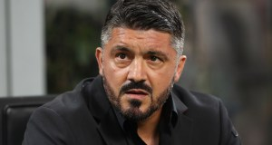 MILAN, ITALY - AUGUST 31: AC Milan coach Gennaro Gattuso looks on before the serie A match between AC Milan and AS Roma at Stadio Giuseppe Meazza on August 31, 2018 in Milan, Italy. (Photo by Marco Luzzani/Getty Images)