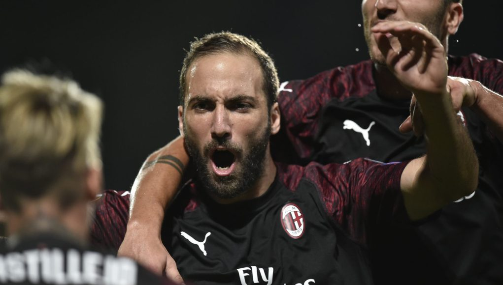 AC Milan's Argentinian forward Gonzalo Higuain celebrates after scoring a goal during the UEFA Europa League Group F football match between F91 Dudelange and AC Milan at the Josy Barthel Stadium in Luxembourg, on September 20, 2018. (Photo by JOHN THYS / AFP) (Photo credit should read JOHN THYS/AFP/Getty Images)
