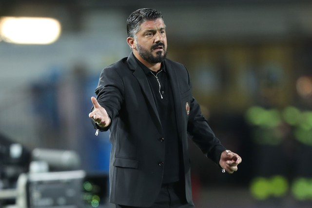 EMPOLI, ITALY - SEPTEMBER 27: Gennaro Gattuso manager of AC Milan gestures during the serie A match between Empoli and AC Milan at Stadio Carlo Castellani on September 27, 2018 in Empoli, Italy. (Photo by Gabriele Maltinti/Getty Images)