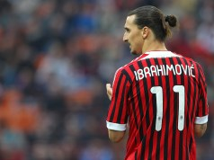 MILAN, ITALY - APRIL 25: Zlatan Ibrahimovic of AC Milan looks on during the Serie A match between AC Milan and Genoa CFC at Stadio Giuseppe Meazza on April 25, 2012 in Milan, Italy. (Photo by Marco Luzzani/Getty Images)