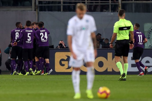 FLORENCE, ITALY - DECEMBER 16: Giovanni Simeone of ACF Fiorentina celebrates after scoring a goal during the Serie A match between ACF Fiorentina and Empoli at Stadio Artemio Franchi on December 16, 2018 in Florence, Italy.  (Photo by Gabriele Maltinti/Getty Images)