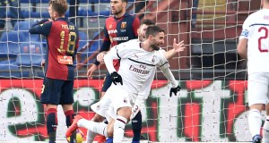 GENOA, ITALY - JANUARY 21: Fabio Borini of Milan celebrates after scoring the first goal of his team during the Serie A match between Genoa CFC and AC Milan at Stadio Luigi Ferraris on January 21, 2019 in Genoa, Italy. (Photo by Paolo Rattini/Getty Images)
