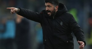 ROME, ITALY - FEBRUARY 03: AC Milan head coach Gennaro Gattuso gestures during the Serie A match between AS Roma and AC Milan at Stadio Olimpico on February 3, 2019 in Rome, Italy. (Photo by Paolo Bruno/Getty Images)