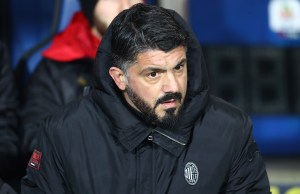 BERGAMO, ITALY - FEBRUARY 16: AC Milan coach Gennaro Gattuso looks on before the Serie A match between Atalanta BC and AC Milan at Stadio Atleti Azzurri d'Italia on February 16, 2019 in Bergamo, Italy. (Photo by Marco Luzzani/Getty Images)
