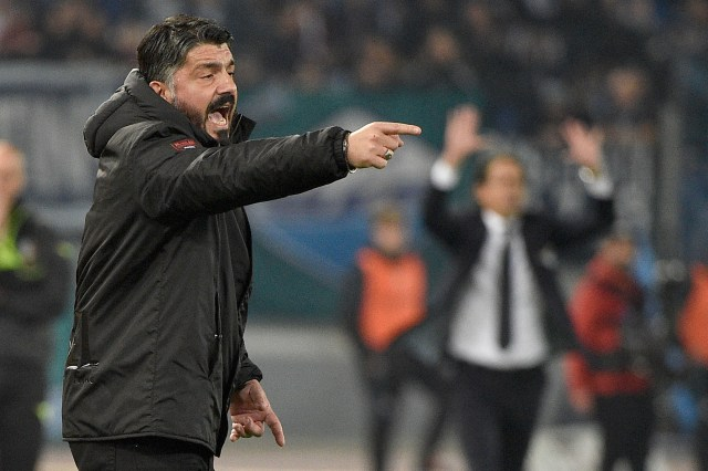 ROME, ITALY - FEBRUARY 26: Ac Milan head coach Gennaro Gattuso reacts during the Coppa Italia semi-final first leg between SS Lazio and AC Milan on February 26, 2019 in Rome, Italy. (Photo by Marco Rosi/Getty Images)