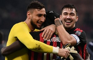 AC Milan's Italian goalkeeper Gianluigi Donnarumma, AC Milan's French midfielder Tiemoue Bakayoko and AC Milan's Italian defender Alessio Romagnoli