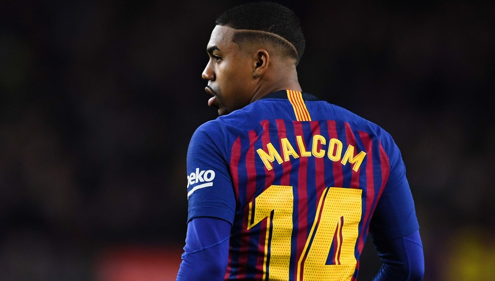 BARCELONA, SPAIN - DECEMBER 02: Malcom of FC Barcelona looks on during the La Liga match between FC Barcelona and Villarreal CF at Camp Nou on December 02, 2018 in Barcelona, Spain. (Photo by David Ramos/Getty Images)