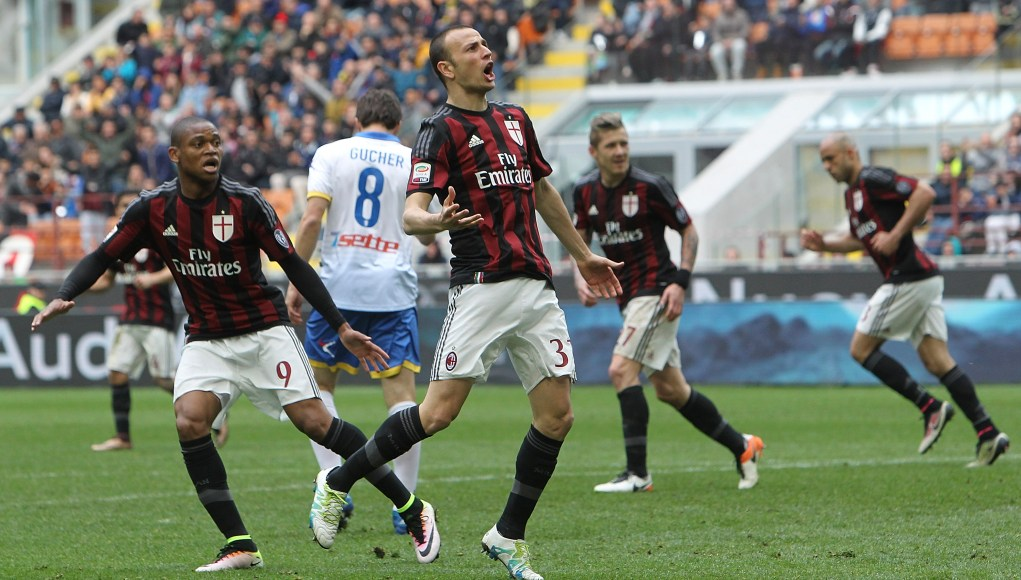 MILAN, ITALY - MAY 01: Luca Antonelli (C) of AC Milan celebrates his goal during the Serie A match between AC Milan and Frosinone Calcio at Stadio Giuseppe Meazza on May 1, 2016 in Milan, Italy. (Photo by Marco Luzzani/Getty Images)