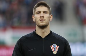 BUDAPEST, HUNGARY - MARCH 24: Andrej Kramaric of Croatia listens to the anthem prior to the 2020 UEFA European Championships group E qualifying match between Hungary and Croatia at Groupama Arena on March 24, 2019 in Budapest, Hungary. (Photo by Laszlo Szirtesi/Getty Images)