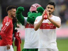 STUTTGART, GERMANY - MAY 11: Ozan Kabak of VfB Stuttgart acknowledges the fans following the Bundesliga match between VfB Stuttgart and VfL Wolfsburg at Mercedes-Benz Arena on May 11, 2019 in Stuttgart, Germany. (Photo by Christian Kaspar-Bartke/Bongarts/Getty Images)