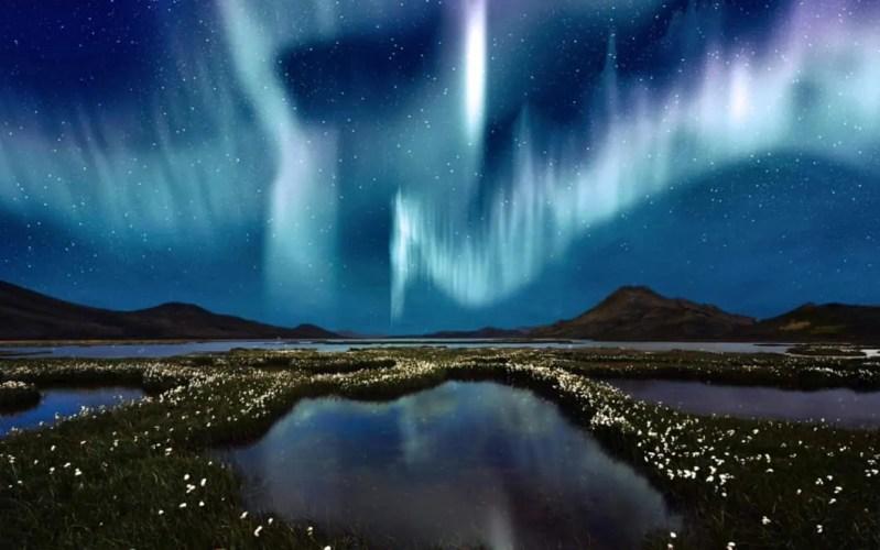 aurora boreale blu in islanda