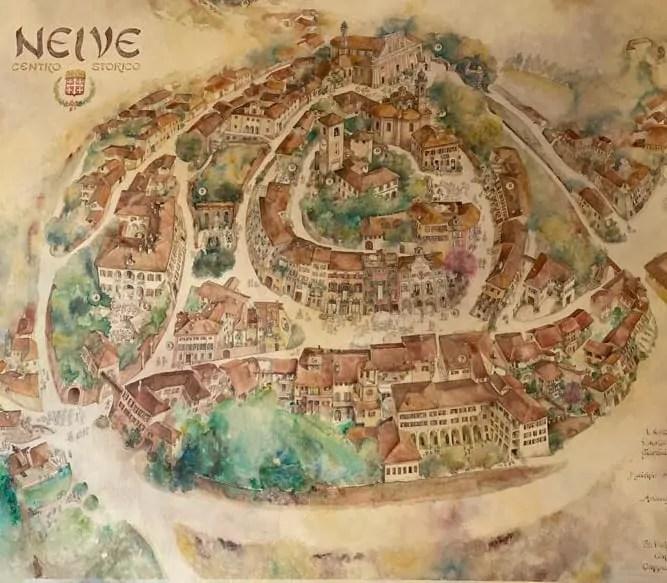 Murales con la mappa del borgo di Neive