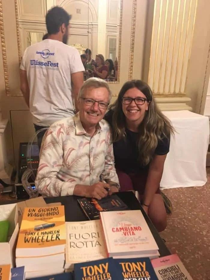 Tony Wheeler alla presentazione del libro Perché viaggiamo in difesa di un atto vitale all'Ulissefest di Rimini nel 2019