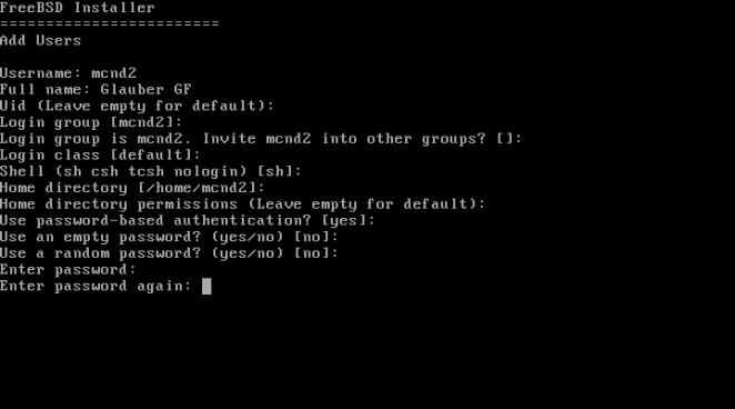 FreeBSD - criando conta de usuário