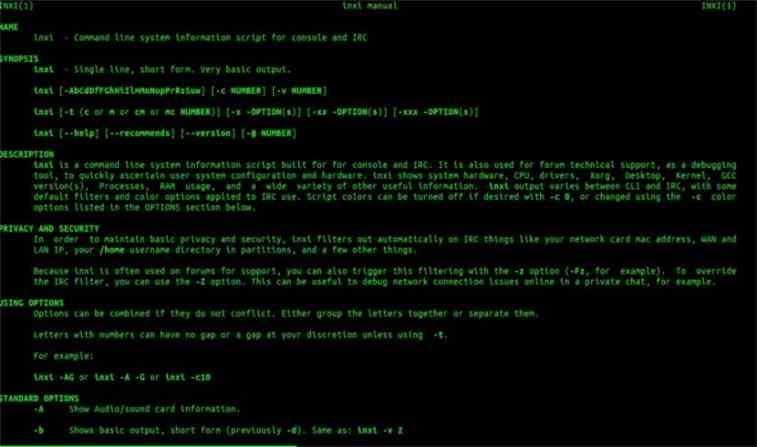 Inxi, CLI para obter informações sobre o computador