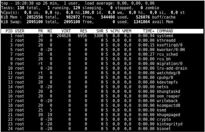 001 - Explicação do comando top em sistemas Linux